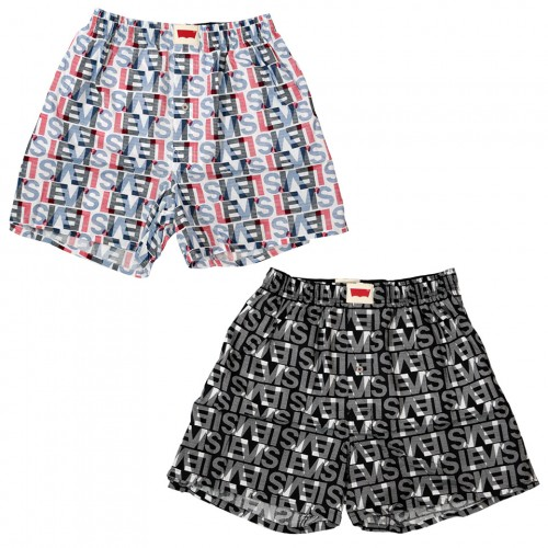 Logo Pattern Boxer Set - Blue/Black