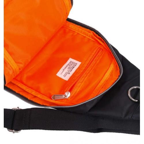 Soft Twill 2 Pocket One Shoulder Bag - Black