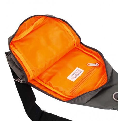Soft Twill 2 Pocket One Shoulder Bag - Grey