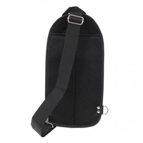 Carbon Lip Multi Pocket Vertical One Shoulder Bag - Black