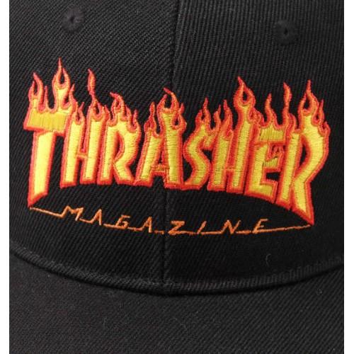 Embroidery Flame Logo Cap - Black