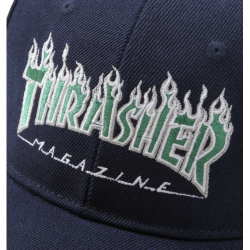 Embroidery Flame Logo Cap - Navy