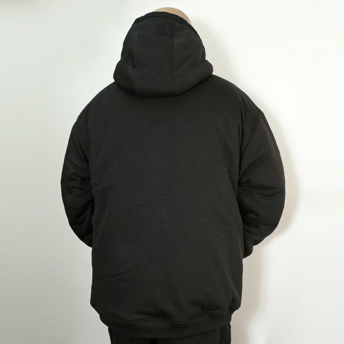Thermal Lined Heavy Duty Fleece Hoodie - Black