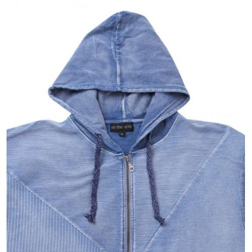 Switching Denim Short Sleeve Full Zip Parka - Blue