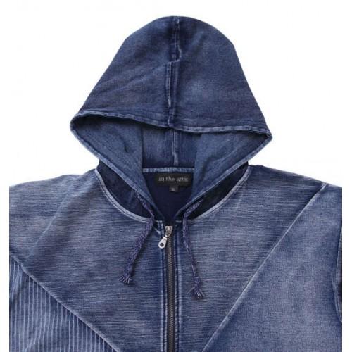 Switching Denim Short Sleeve Full Zip Parka - Indigo
