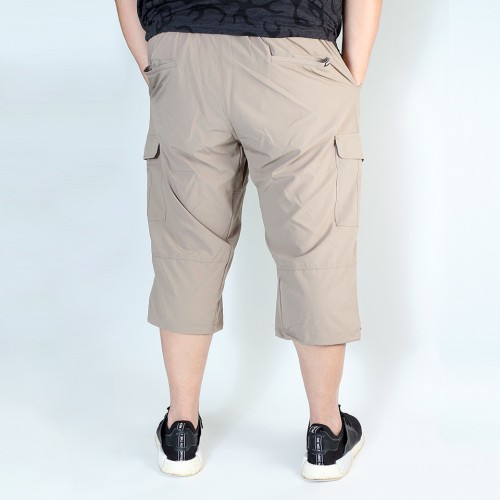 Stretch Cropped Cargo Shorts - Khaki