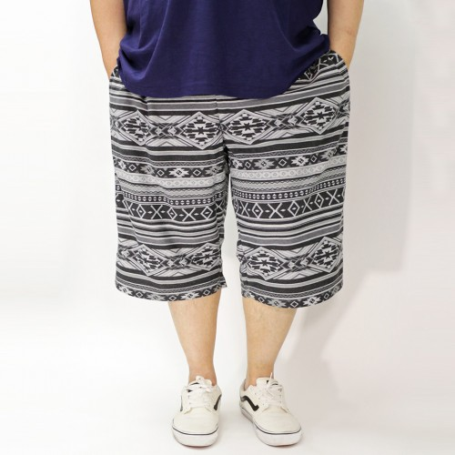 Ortega Pattern Casual Shorts - Black