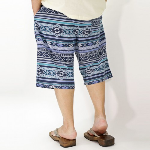 Ortega Pattern Casual Shorts - Blue