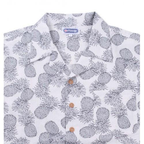 Pineapple Pattern Ripple Shirt - White