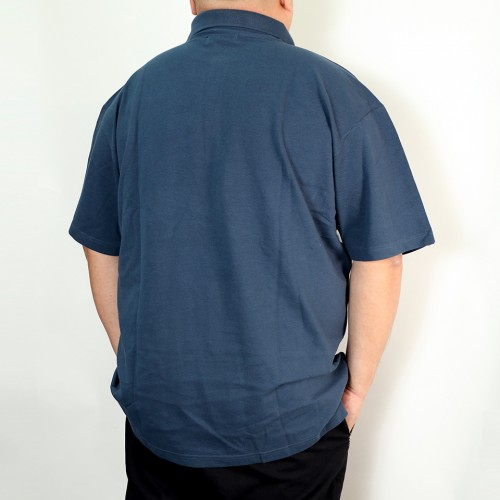 Asymmetrical Bias Design Polo Shirt - Blue