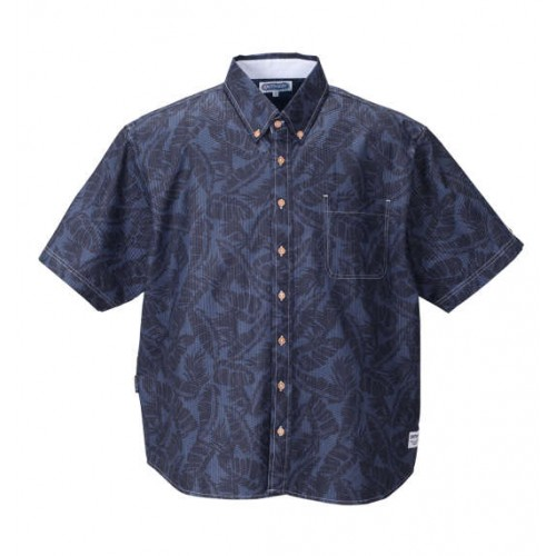 Leaf Pattern Ripple Short Sleeve BD Shirt - Navy