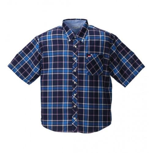Panama Check BD Short Sleeve Shirt - Navy
