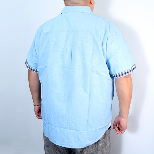 Plain Color Check Cuffs Shirt - Blue