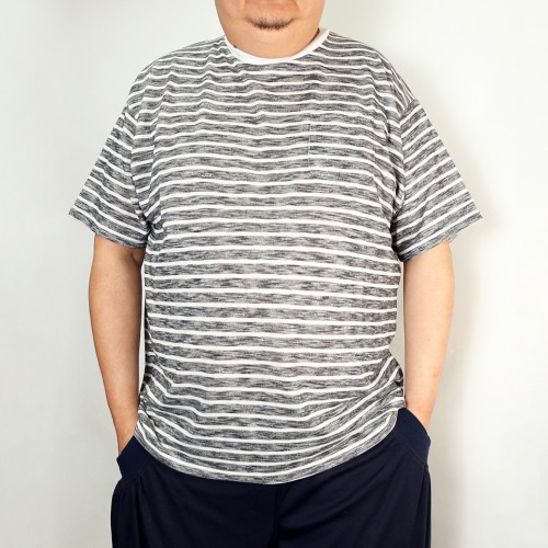 Slub Pocket Tee - Grey/White Stripe