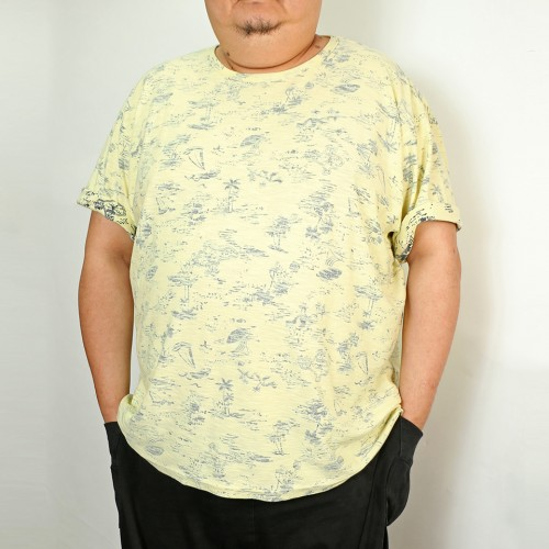 Back Print Aloha Pattern Tee - Yellow
