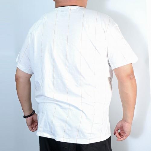 Printed Foil Stripe Pocket Tee - White