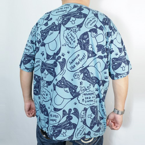 All Print Cat Tee - Blue