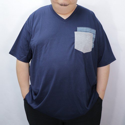 Fake Double Pocket V-Neck Tee - Navy
