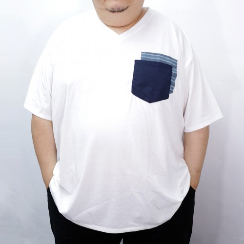 Fake Double Pocket V-Neck Tee - White